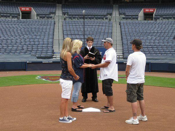 TURNER FIELD ATLANTA BRAVES BASEBALL WEDDING CEREMONY MARRIAGE MINISTER770963742
